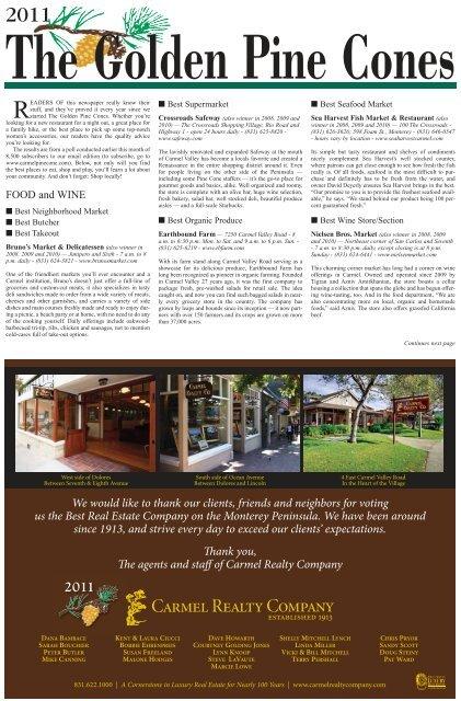 Design Bank 2 Zits Lugo.Golden Pine Cones The Carmel Pine Cone