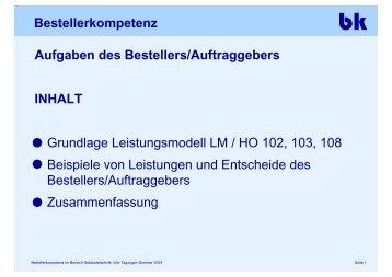 Bestellerkompetenz Aufgaben des Bestellers/Auftraggebers INHALT ...