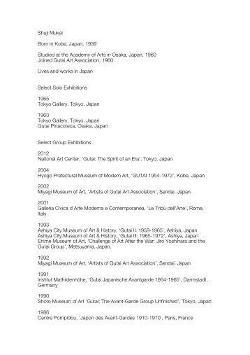 Shuji Mukai Born In Kobe, Japan, 1939 Studied At ...   Hauser
