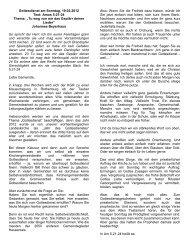 Gottesdienst am Sonntag, 19.02.2012 Text: Amos 5:21-24 Thema ...