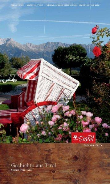 Unser neuer Hausprospekt mit Preisliste - Hotel Seppl bei Innsbruck