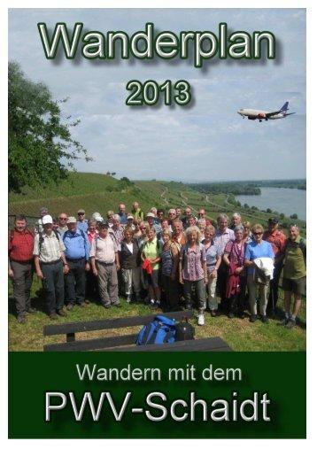 Vereinsheft und Wanderplan 2013 - PWV-Schaidt