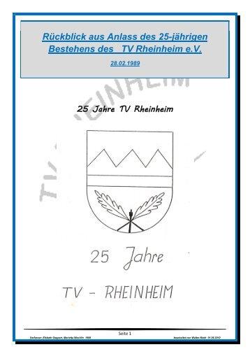 Rückblick aus Anlass des 25-jährigen Bestehens des TV Rheinheim ...