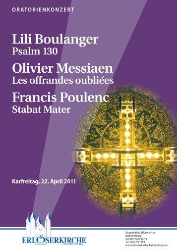Lili Boulanger Olivier Messiaen Francis Poulenc - Ev ...