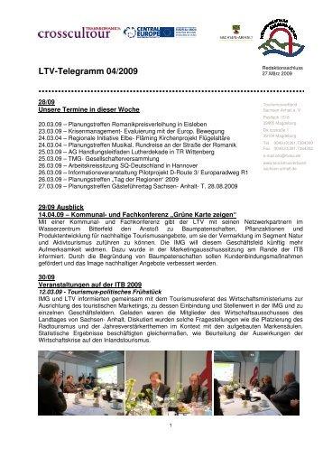LTV-Telegramm 04/2009 - Tourismusverband Sachsen-Anhalt