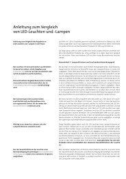 Anleitung zum Vergleich von Led-Leuchten und -Lampen