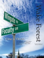 Wake Forest Magazine, December 2006 - Past Issues - Wake Forest ...
