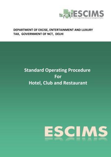 SOP for Hotel Club Restaurant - Delhi