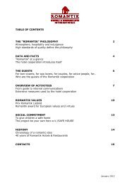 table of contents - Romantik Hotels & Restaurants International