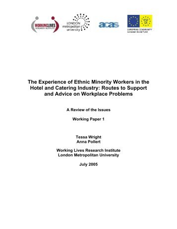 The Experience of Ethnic Minority Workers in the Hotel and Catering ...