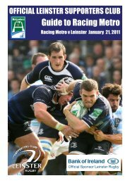 Guide to racing Metro - Leinster Rugby