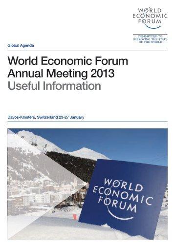 World Economic Forum Annual Meeting 2013 Useful Information