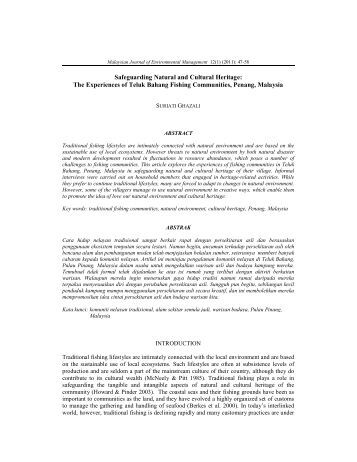 Safeguarding Natural and Cultural Heritage - Malaysia Journal of ...