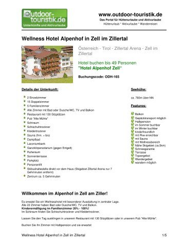 Wellness Hotel Alpenhof in Zell im Zillertal - Outdoor-Touristik