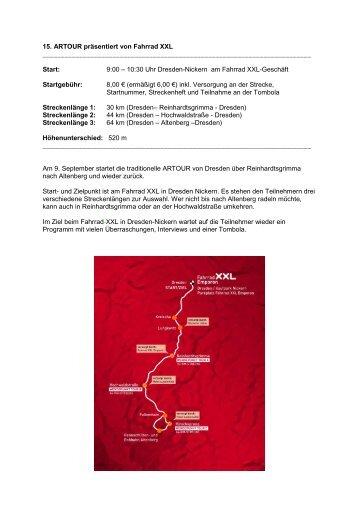 15. ARTOUR präsentiert von Fahrrad XXL Start: 9:00 S
