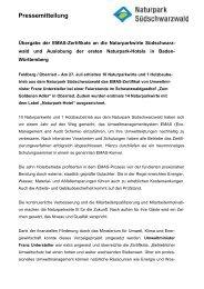 Übergabe der EMAS-Zertifikate an die Naturparkwirte ...