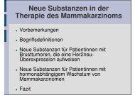 Vortrag Neue Substanzen in der Therapie des Mammakarzinoms