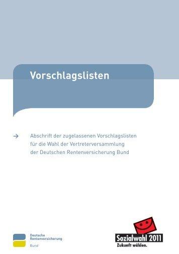 DRV Bund - Vorschlagslisten - Sozialwahl 2011