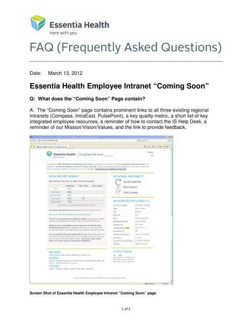 "Essentia Health Employee Intranet ""Coming Soon"" - Essentia Daily ..."