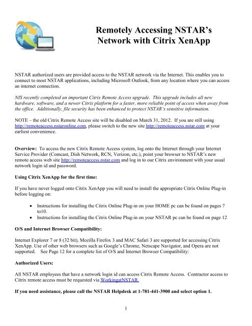 Remotely Accessing NSTAR's Network with Citrix XenApp