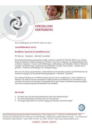 Ausbildung zur/m Kaufrau/-mann im Gesundheitswesen 2013