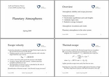 Planetary Atmospheres - faculty.jacobs-university.de