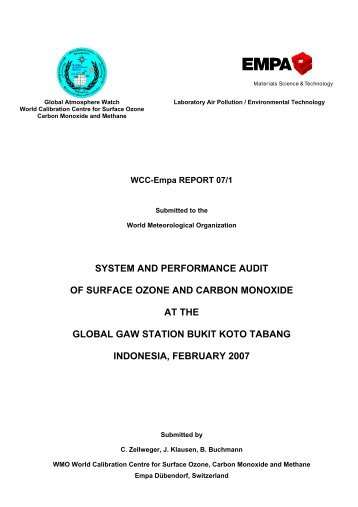 SYSTEM AND PERFORMANCE AUDIT OF SURFACE ... - Empa