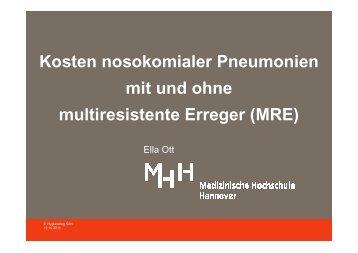 Kosten der Pneumonie mit sensiblen und resistenten Erregern
