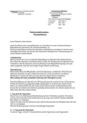 Pneumothorax - Kliniken der Stadt Köln gGmbH