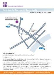 Lageplan und Anfahrt finden Sie hier - Kliniken der Stadt Köln gGmbH