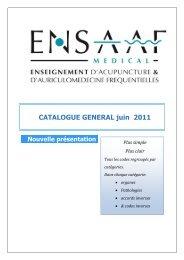 CATALOGUE GENERAL juin 2011 Nouvelle présentation ... - ENSAAF