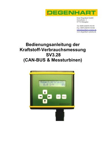 CAN-BUS & Messturbinen - Degenhart Systeme