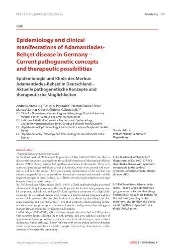 Epidemiology and clinical manifestations of Adamantiades- Behçet ...