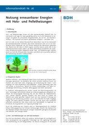 Nutzung erneuerbarer Energien mit Holz- und Pelletheizungen - BDH