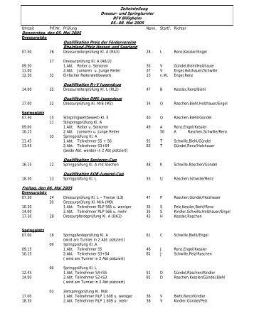 Zeiteinteilung Dressur- und Springturnier RFV Billigheim 05.-08. Mai ...