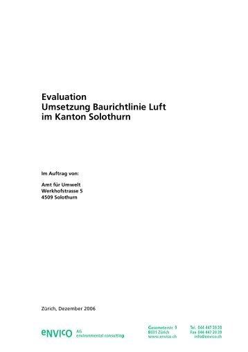 Evaluation Umsetzung Baurichtlinie Luft im Kanton ... - envico AG