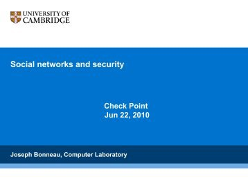 Social Networks And Security Check Point - The Computer Laboratory