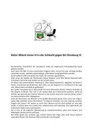 Kieler Billard Union VI in der Schlacht gegen BU Flensburg IV