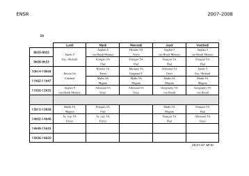 Horaires classes Collège - ENSR