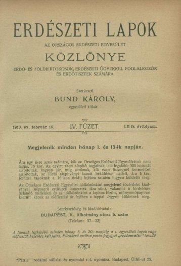 Erdészeti Lapok 1913. 52. évf. 4. füzet