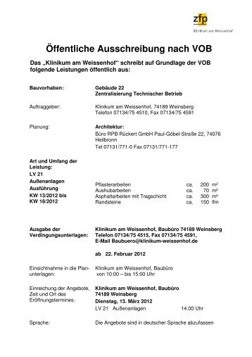 Ausschreibung Technischer Betrieb Aussenanlage - Klinikum am ...