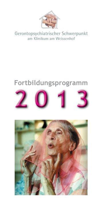 Fortbildungsprogramm Gerontopsychiatrischer Schwerpunkt 2013