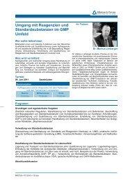 Umgang mit Reagenzien und Standardsubstanzen  im GMP Umfeld