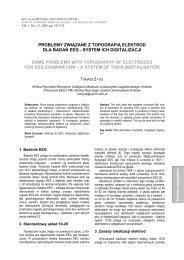 problemy związane z topografią elektrod dla badań eeg