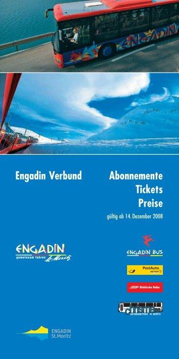 Engadin Verbund Abonnemente Tickets Preise - Pontresina
