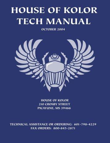 House of kolor tech manual