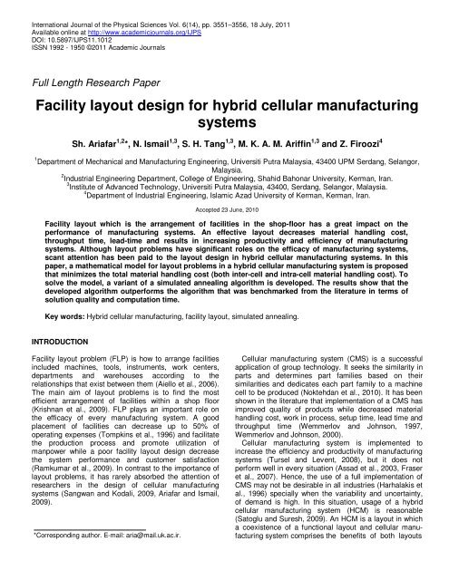 Facility Layout Design For Hybrid Cellular Manufacturing Systems