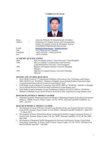 1 CURRICULUM VITAE Name - Department of Computer Systems ...