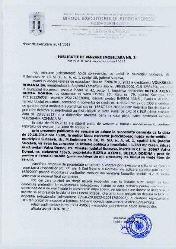 dosar de executare nr. 61/2012 - SmartHousing.ro
