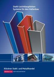 Stahl-Leichtbaupfetten Systeme für den Hallenbau - Klöckner Stahl